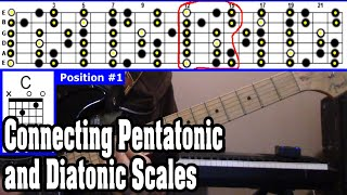 Connecting the 5 Pentatonic Positions with the Full Diatonic Scale - Useful Exercise