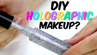 BN DIY - Can we make holographic makeup? Holo lipstick, lipgloss, lip balm and eyeshadow/highlighter - Video Youtube