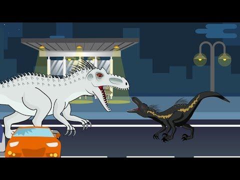 Dinosaurs cartoons battles: Indoraptor vs Indominus Rex | MiMi TV
