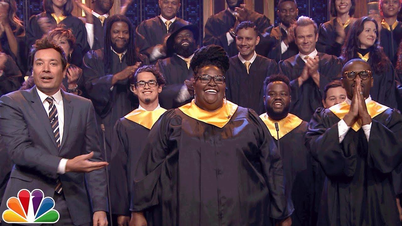 "Jimmy Fallon Announces $1M Donation to J.J. Watt, Invites Houston Choir to Sing ""Lean on Me"" thumbnail"