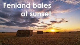 Fenland Bales At Sunset