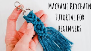 Macrame Keychain Tutorial for BEGINNERS! | DIY Macrame keychain