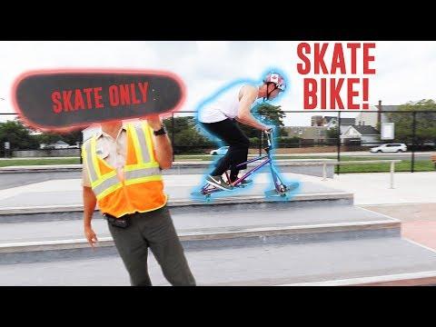 SKATE BIKE vs. SKATEPARK SECURITY!