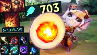 Tristana but her a 100% AP Scaling on an ultimate that does 1000 damage every 30 seconds is fair