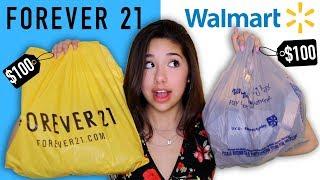 $100 CHALLENGE: Walmart Vs. Forever 21