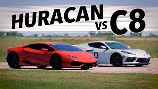 510 HP C8 Corvette vs 602 HP Lamborghini Huracan | Drag & Roll Race Comparison