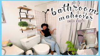 DIY SMALL BATHROOM MAKEOVER UNDER $100??! | ON A BUDGET + RENTER FRIENDLY *CRAZY TRANSFORMATION*