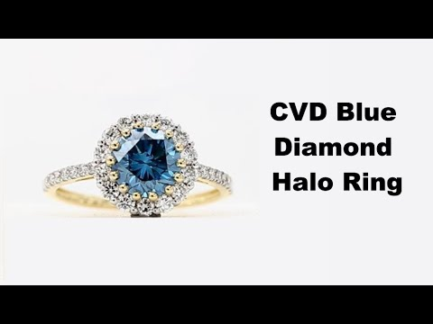 Halo Blue Diamond Ring 1.55ct VS Clarity Treated CVD Stone Round 14k White Gold