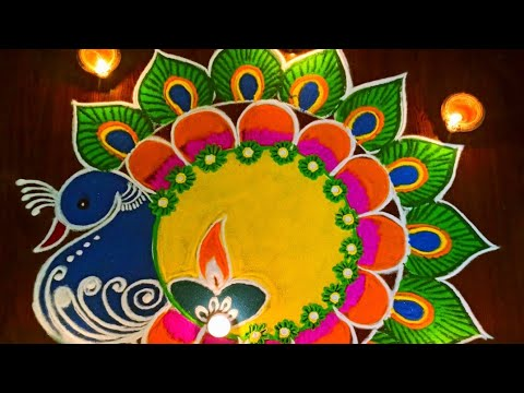 diwali special peacock rangoli design by dheepika rangolis