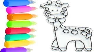 Витраж для детей Учим цвета с Раскрасками Учимся рисовать Рисуем жирафа Учимся раскрашивать витражи