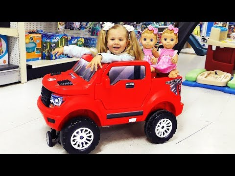 Roma and  Diana go to the toy store, Kids Pretend Play video