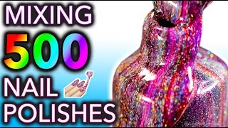 Mixing my 500 HOLO Nail Polishes Together! What Will Happen?! - Video Youtube