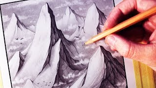 How to Draw a Mountain Range Landscape