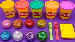 Making 2 Ice Cream out of 8 Colors Glitter Play Doh | Learn Colors,LOL,Donut,Surprise Toys