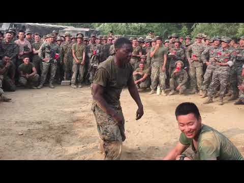 US Marines have a dance off with South Korea Military