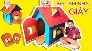 TRÒ CHƠI BỐ LÀM NHÀ CHO BÉ BÚN x BÉ BẮP ♥ ĐỒ CHƠI TRẺ EM ♥ DIY Cardboard Playhouse For Kids