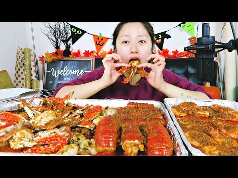 (recipe mukbang) SPICY SEAFOOD BOIL w. Blue crab, Lobster, Shrimp, Andouille, calamari Mukbang!