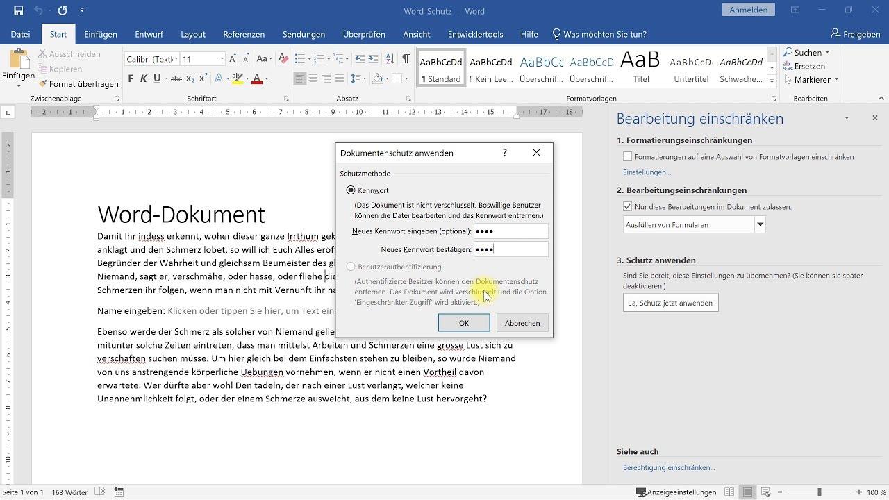 Word-Dokument mit Passwort schützen (Schreibschutz mit Kennwort) – Word-Tutorial
