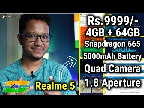 Realme 5 Launching Rs.9999/- With 5000mAh Battery, Quad Camera, SD 665, 4GB+64GB | HINDI | Data Dock