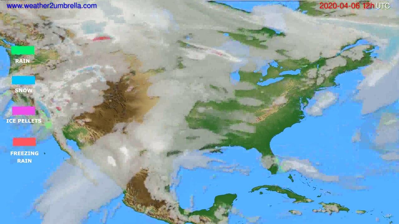 Precipitation forecast USA & Canada // modelrun: 00h UTC 2020-04-06