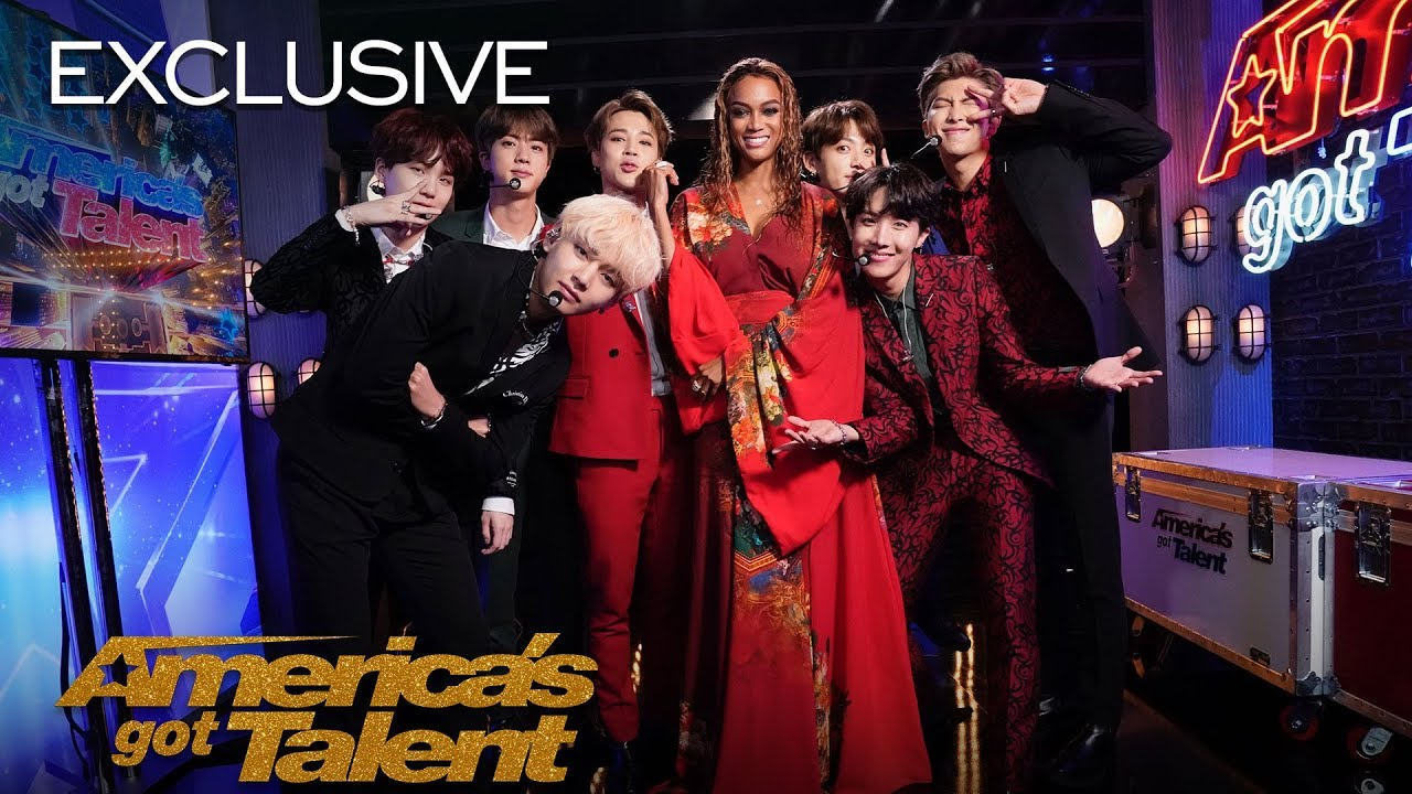 """BTS and Tyra Banks Show Off Their """"Idol"""" Dance Moves - America's Got Talent 2018 thumbnail"""