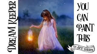 Live streaming Acrylic painting Fairytale  Lantern and Girl Step by step