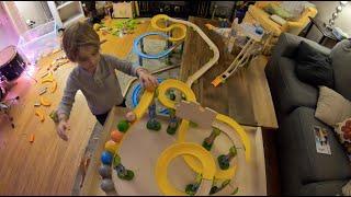 Dad & 3 yr old Son Build HUGE indoor HABA Kullerbu ball track! (Extended Version)