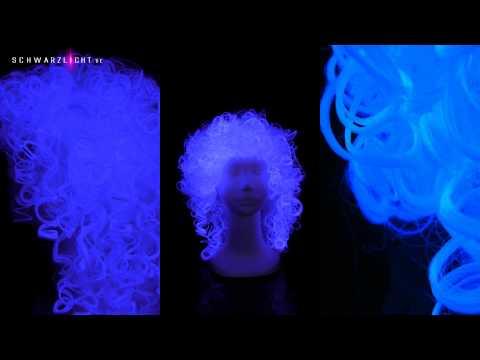 Schwarzlicht Perücke - Locken weiß --- Blacklight Wig - white curls