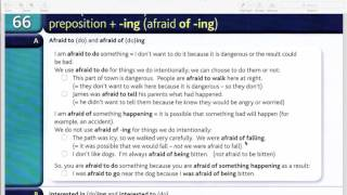 To ... (afraid to do) and preposition + -ing (afraid of -ing)