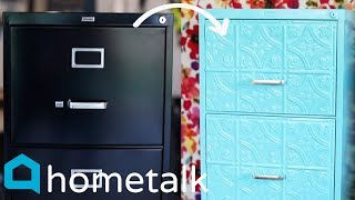 Filing Cabinet Makeover | Give that old filing cabinet a makeover with this $20 idea! | Hometalk