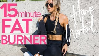 15min FAT BURNER WORKOUT | Full Body At Home HIIT Workout by Sarahs Day