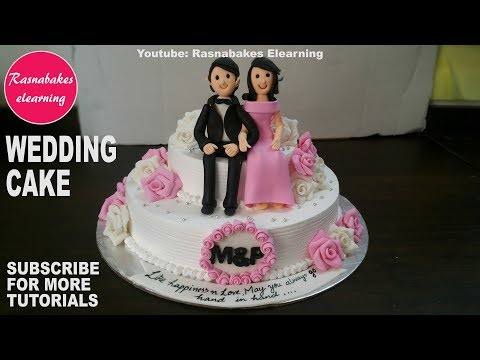 How to make Wedding Cake design:fondant 3D Wedding Cake Toppers:Cake decorating classes