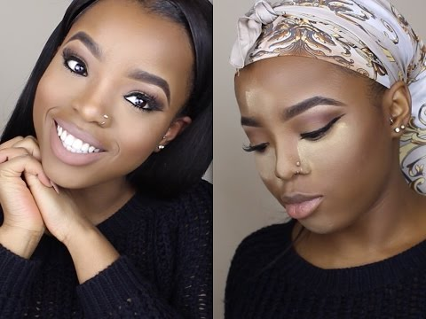 NATURAL NUDE MAKEUP TUTORIAL || HOW TO HIGHLIGHT & CONTOUR ON DARK SKIN