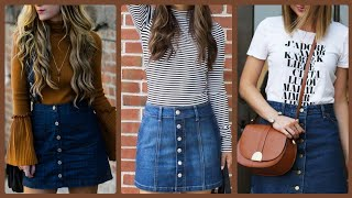 Outstanding And Elegant (2020) Knee Length Denim Skirt Design And Outfit Ideas For Girls And Women