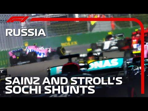 カルロス・サインツがコースアウト後にミスってウォールにヒットしてしまう映像!F1 ロシアGPのファーストラップの混戦の模様をおさめた動画