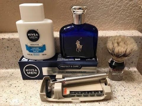 1977 Vintage Gillette Atra Razor, NIVEA Men's Shave Cream & Aftershave Balm, & Polo Blue Cologne