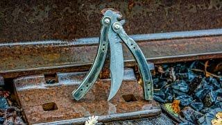 Making DAMASCUS CSGO BUTTERFLY KNIFE Part 2
