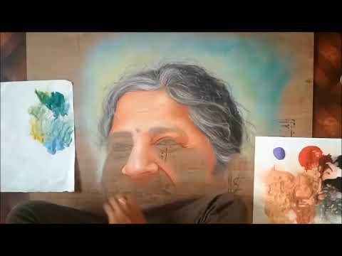 portrait rangoli design of sudha murthy by ganesh khare