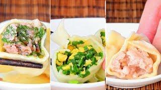 Dumplings, 3 ways, North China-style from scratch (猪肉大葱/牛肉茴香/韭菜鸡蛋)