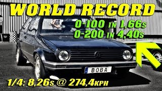 NEW WORLD RECORD | QUICKEST GOLF ON EARTH | VW Golf Mk2 DSG 4Motion 8,26s @ 274kmh Santa Pod 2018