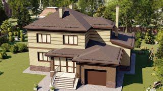Проект дома 221-A, Площадь дома: 221 м2, Размер дома:  16,4x16,7 м