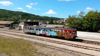 preview picture of video 'Small DMU departing Pazin [Pretty rare sight]'