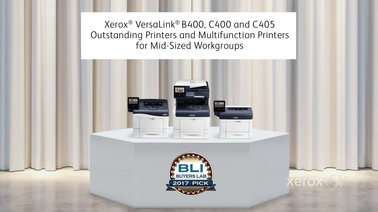 Xerox VersaLink B400 and C400/C405: BLI's Pick for Outstanding Printers & MFPs for Mid-Sized Teams. YouTube Video
