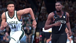 NBA 2K19 - Milwaukee Bucks vs. Brookyln Nets - Full Gameplay (Updated Rosters)