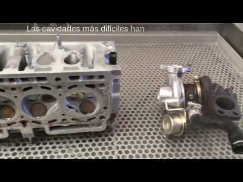 Lavadora ultrasonido. Proceso de limpieza por ultrasonido de culata turbo y catalizador