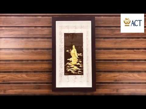 Tranh Quan Thế  Âm Bồ Tát dát vàng (42x81cm)