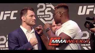 Stipe Miocic and Francis Ngannou's Intense First UFC 220 Face-Off
