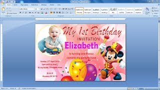How to make Picture Invitation Card Design in Ms Word | Invitation Card Design in Ms word | Ms word