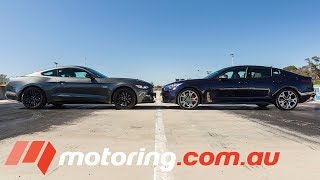 Ford Mustang GT v Kia Stinger GT Drag Race   motoring.com.au   Kholo.pk