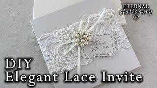 Elegant Beaded Lace And Brooch Wedding Invitation | DIY Wedding Invitations